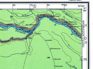 Reduced fragment of topographic map ru--gs--500k--xa18-1--N000-00_W078-00--S002-00_W075-00 in area of Rio Aguarico, Rio Coco; towns and cities El Chaco, Pacayacu, Tahuinamhi