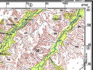 Reduced fragment of topographic map ru--gs--500k--xa33-3--S002-00_E012-00--S004-00_E015-00; towns and cities Mougomibo, Kitembe, Mougoundou