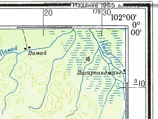 Reduced fragment of topographic map ru--gs--500k--xa47-2--S000-00_E099-00--S002-00_E102-00 in area of D Singkarak, D Maninjau; towns and cities Padang, Pandangpandjang, Bukittinggi, Pamai, Bidaralam