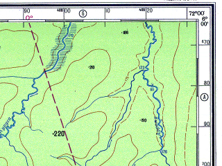 Reduced fragment of topographic map ru--gs--500k--xb18-4--S006-00_W075-00--S008-00_W072-00; towns and cities Cruzeiro Do Sul, Japiim, Ponciana, Republica