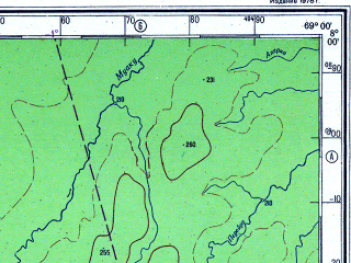 Reduced fragment of topographic map ru--gs--500k--xc19-1--S008-00_W072-00--S010-00_W069-00; towns and cities Vila Alva, Botafogo, Mira-flores