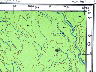 Reduced fragment of topographic map ru--gs--500k--xc20-2--S008-00_W063-00--S010-00_W060-00 in area of Rio Machado Ji-parana; towns and cities Tabajara, Laje, Triunfo