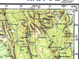 Reduced fragment of topographic map ru--gs--500k--xd23-2--S012-00_W045-00--S014-00_W042-00; towns and cities Bom Jesus Da Lapa, Lagoa Clara, Acude De Macaubas, Saco Da Jurema