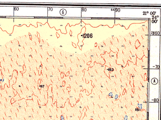 Reduced fragment of topographic map ru--gs--500k--xg34-1--S024-00_E018-00--S026-00_E021-00; towns and cities Akanaus Sud, Brukkaros, Eindpaal