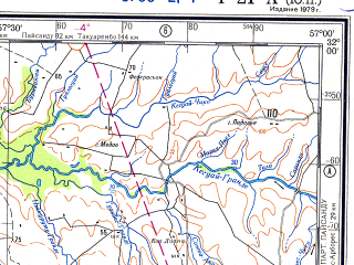 Reduced fragment of topographic map ru--gs--500k--xi21-1--S032-00_W060-00--S034-00_W057-00 in area of Rio San Salvador; towns and cities Paysandu, Gualeguaychu, Concepcion Del Uruguay, Mercedes, San Pedro