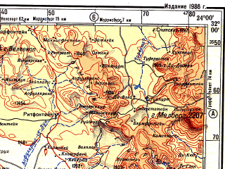 Reduced fragment of topographic map ru--gs--500k--xi34-2--S032-00_E021-00--S034-00_E024-00 in area of Dwyka, Leeuw, Gamka; towns and cities Merweville, Joubertina