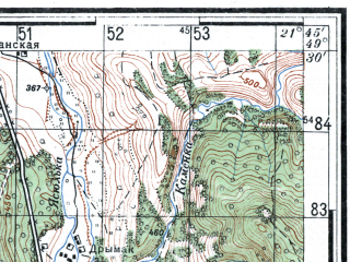 Reduced fragment of topographic map ru--rkka--050k--m34-092-3--(1943)--N049-30_E021-30--N049-20_E021-45; towns and cities Barwinek