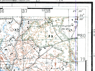 Reduced fragment of topographic map ru--rkka--050k--n35-037-4--(1941)--N054-50_E024-15--N054-40_E024-30; towns and cities Zhezhmaryay