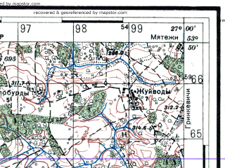 Reduced fragment of topographic map ru--rkka--050k--n35-078-4--(1936)--N053-50_E026-45--N053-40_E027-00; towns and cities Rubezhevichi