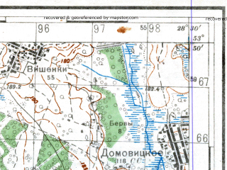 Reduced fragment of topographic map ru--rkka--050k--n35-081-4--(1939)--N053-50_E028-15--N053-40_E028-30; towns and cities Cherven'