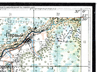 Reduced fragment of topographic map ru--rkka--050k--n36-002-4--(1931)--N055-50_E030-45--N055-40_E031-00; towns and cities Usvyaty