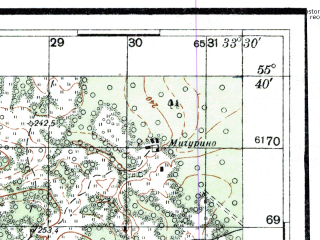 Reduced fragment of topographic map ru--rkka--050k--n36-019-2--(1941)--N055-40_E033-15--N055-30_E033-30; towns and cities Nikitina