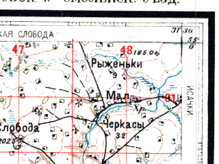Reduced fragment of topographic map ru--rkka--050k--n36-039-2--(1927)--N055-00_E031-15--N054-50_E031-30; towns and cities Golynki