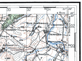 Reduced fragment of topographic map ru--rkka--100k--m34-091--(1940)--N049-40_E021-00--N049-20_E021-30; towns and cities Gorlice