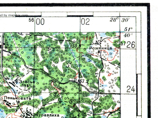 Reduced fragment of topographic map ru--rkka--100k--m35-021--(1936)--N051-40_E028-00--N051-20_E028-30; towns and cities Begun', Listvin