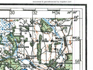 Reduced fragment of topographic map ru--rkka--100k--n35-052--(1937)--N054-40_E025-30--N054-20_E026-00; towns and cities Oshmyany