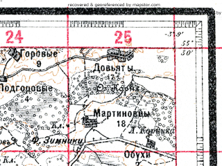 Reduced fragment of topographic map ru--wtogs--084k--10-22--(1917)--N055-30_pW003-36--N055-15_pW003-09; towns and cities Zabor'ye