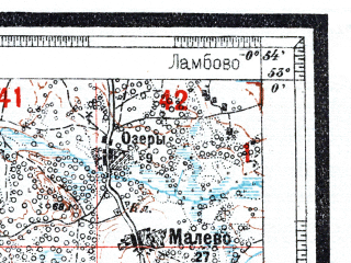 Reduced fragment of topographic map ru--wtogs--084k--20-27--(1928)--N053-00_pW001-21--N052-45_pW000-54; towns and cities Brozha, Parichi