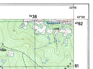 Reduced fragment of topographic map sh--mne--025k--pau--(1980)--N043-00-00_E020-07-30--N042-52-30_E020-15-00