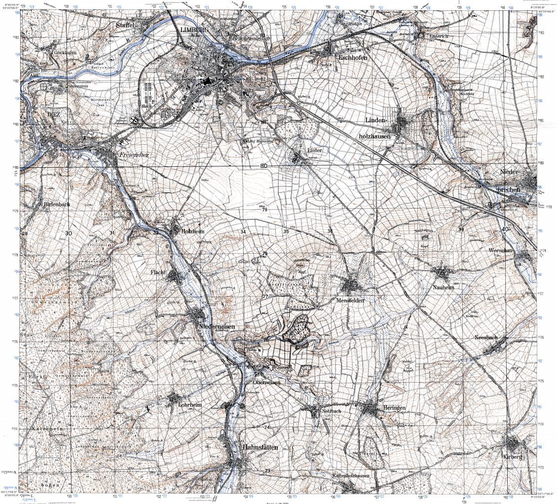 Download topographic map in area of Limburg An Der Lahn mapstorcom