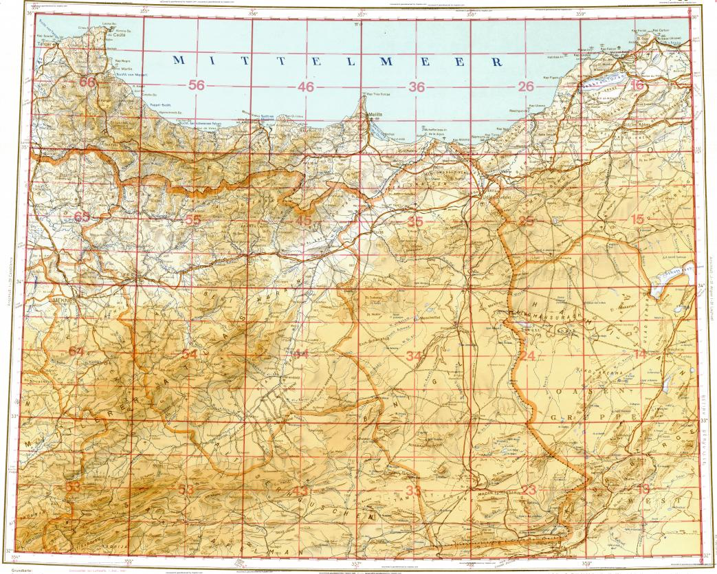 Download topographic map in area of Fes Meknes Oujda mapstorcom