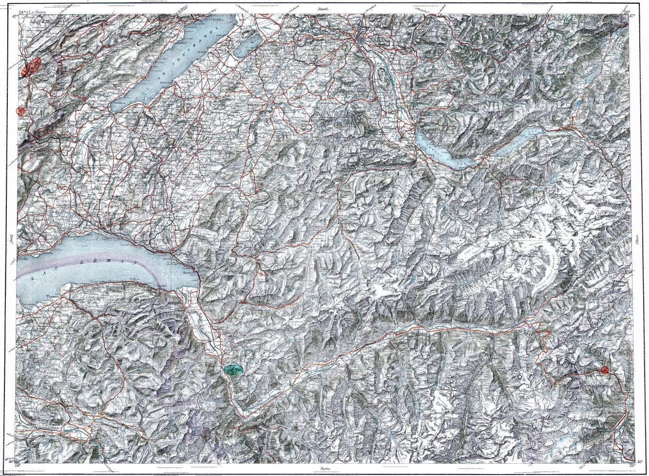 Download Topographic Map In Area Of Lausanne Bern Sion Mapstorcom - Lausanne city map
