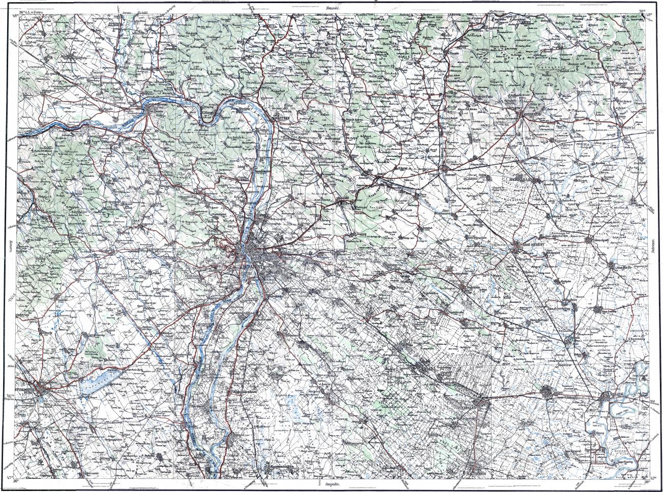 Download topographic map in area of Budapest Szekesfehervar