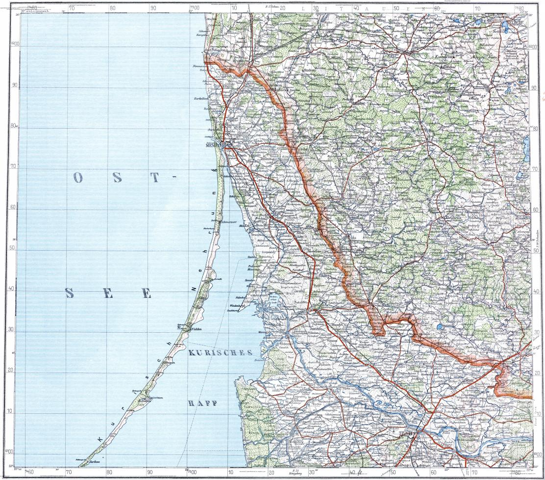 Download topographic map in area of Klaipeda Sovetsk Taurage