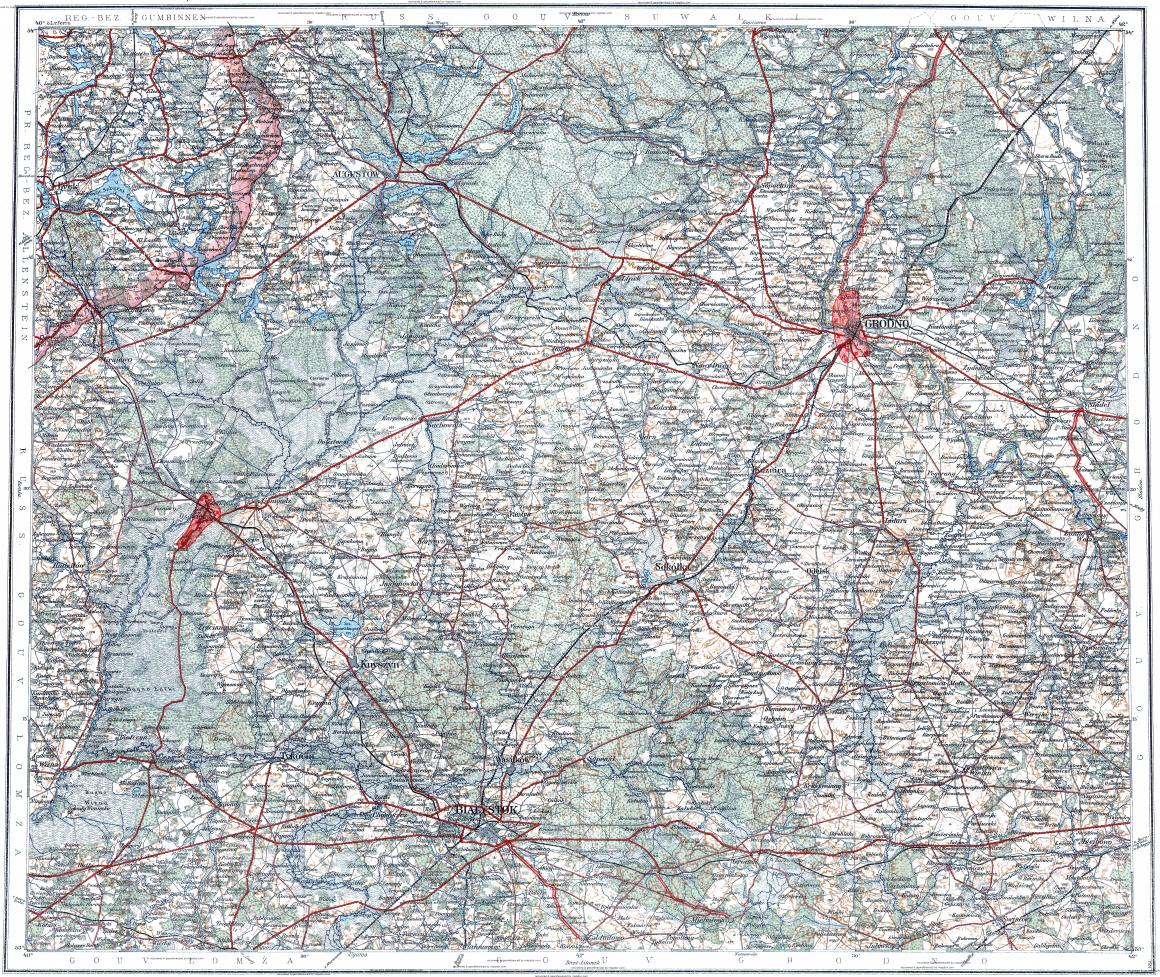 Download topographic map in area of Grodno Bialystok Augustow