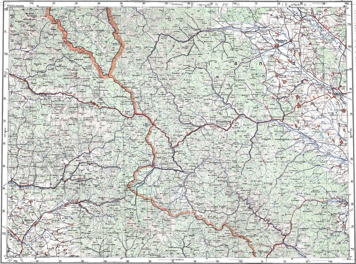 Download topographic map in area of Suceava Bistrita Radauti