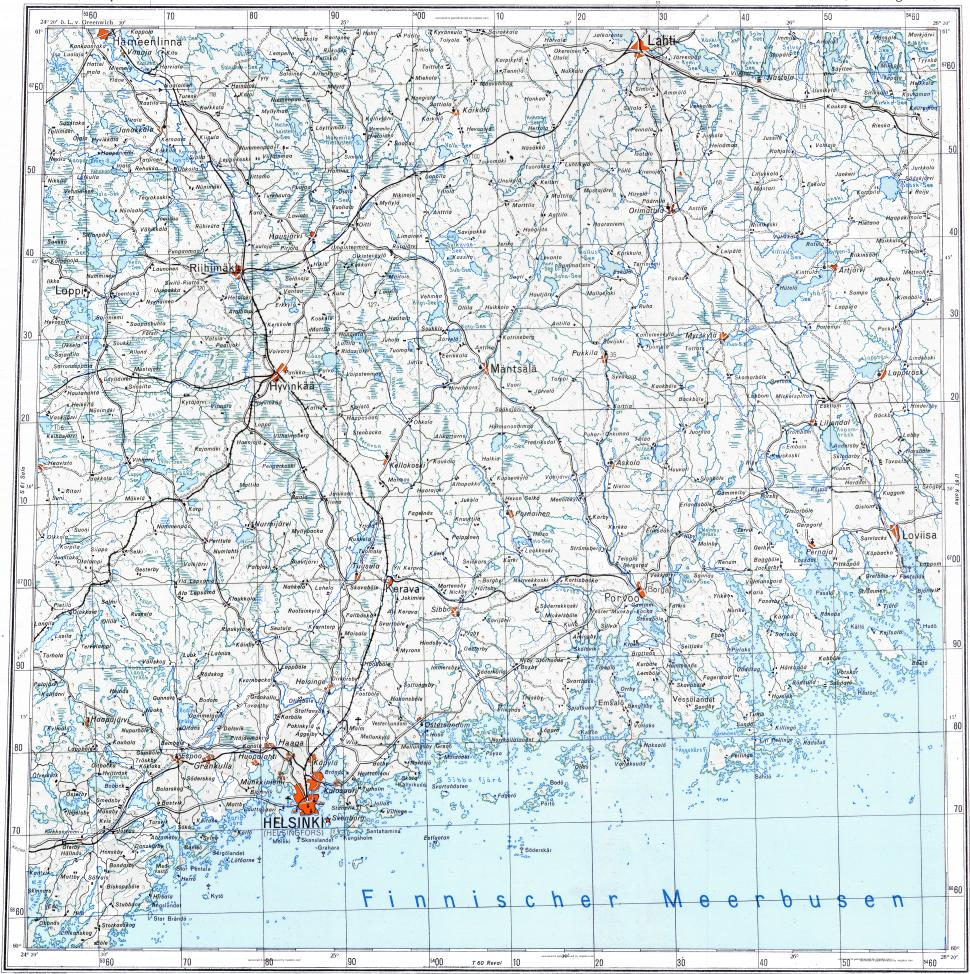 Download topographic map in area of Helsinki Vantaa Espoo