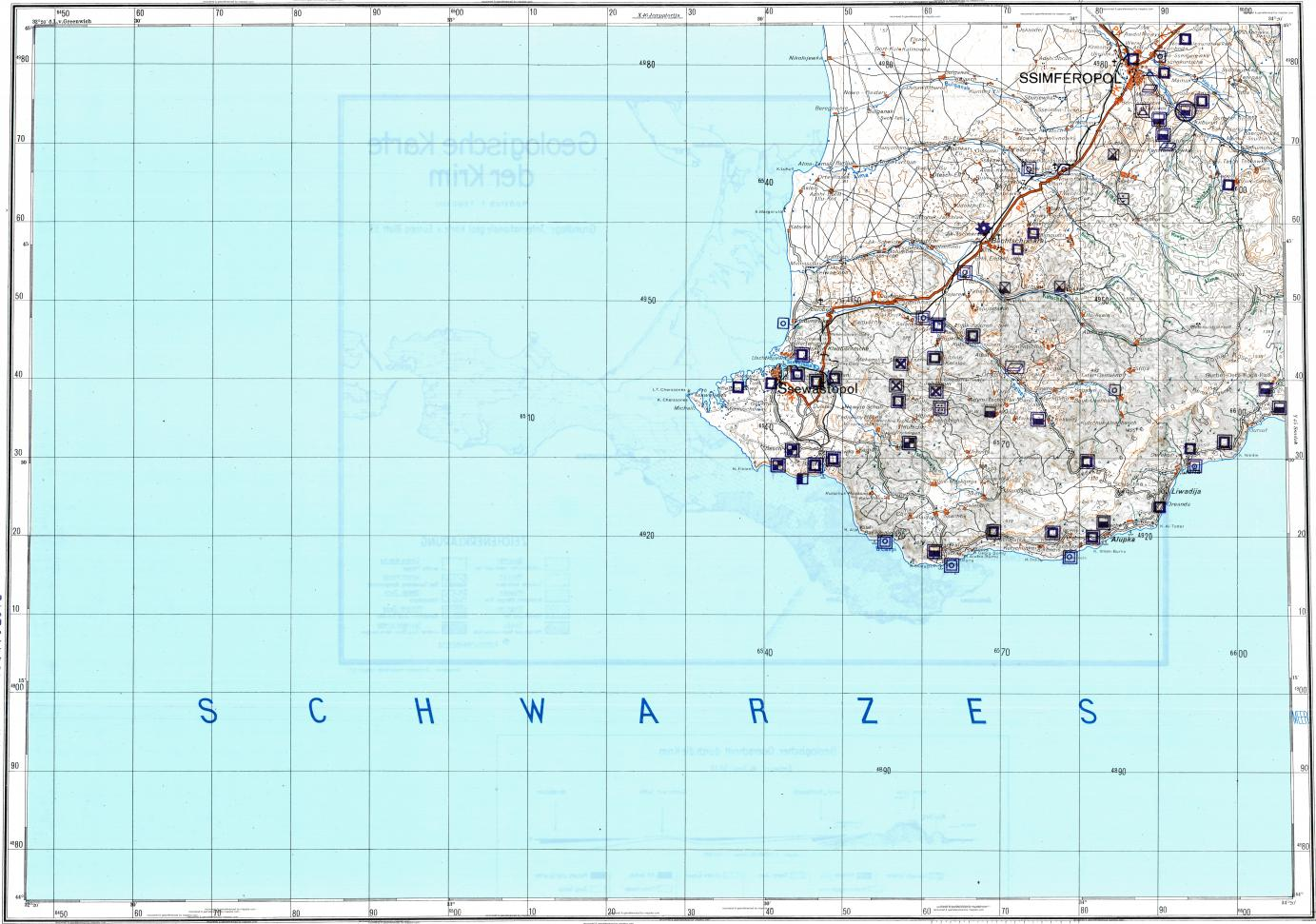 Download topographic map in area of Sevastopol Simferopol Yalta