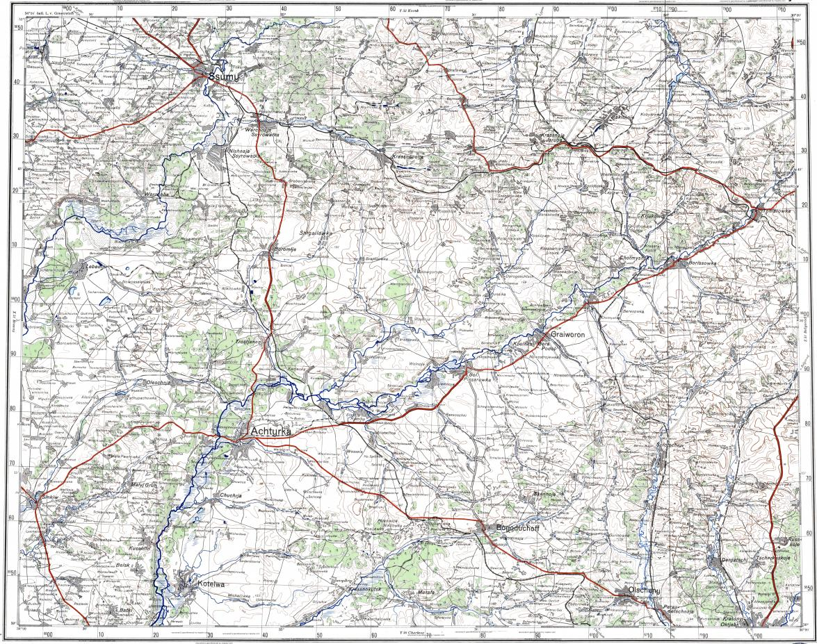Download topographic map in area of Kharkov Sumy Trostyanets