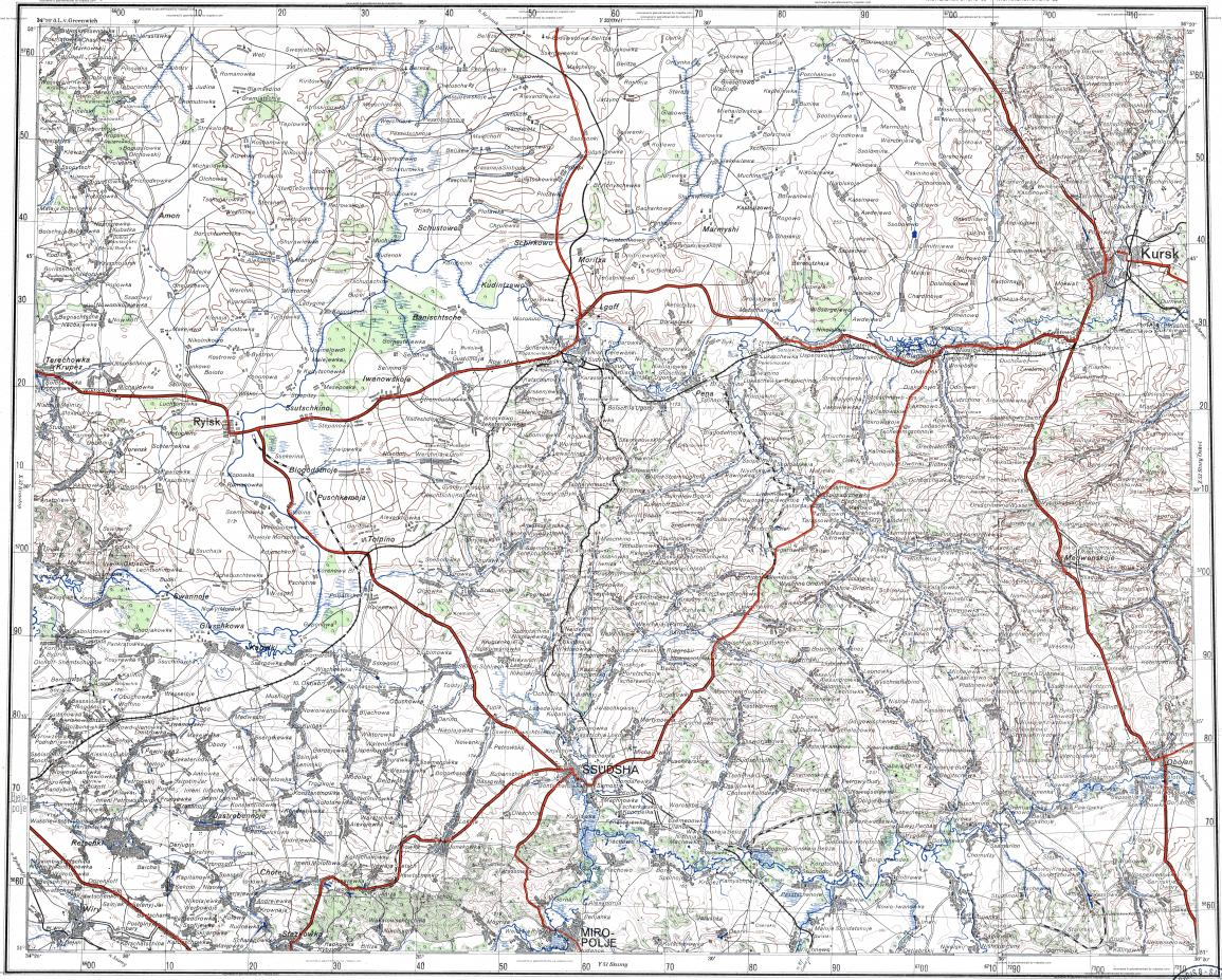 Download Topographic Map In Area Of Kursk Lgov Oboyan - Kursk map