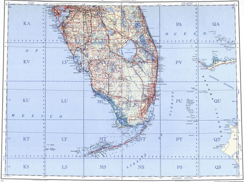 Download topographic map in area of Tampa, Miami, Fort Lauderdale