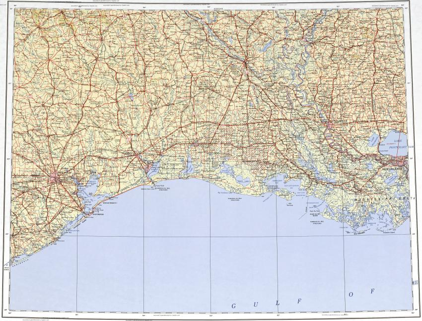 Download Topographic Map In Area Of Houston New Orleans Baton