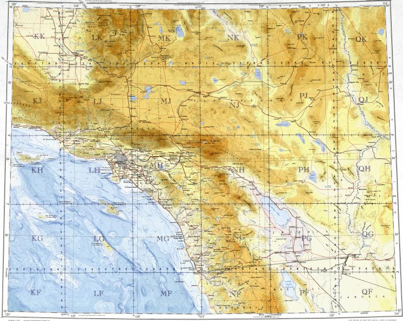 Topographic Map Of San Diego.Download Topographic Map In Area Of Los Angeles San Diego