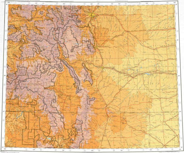 Download topographic map in area of Denver, Colorado Springs ... on
