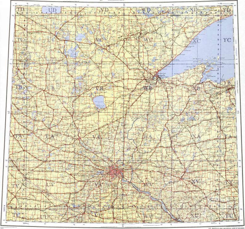 Download topographic map in area of Minneapolis, St. Paul, Duluth ...