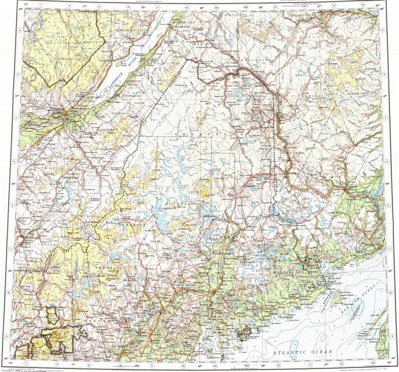 Quebec Topographic Map.Download Topographic Map In Area Of Quebec Saint John Sherbrooke