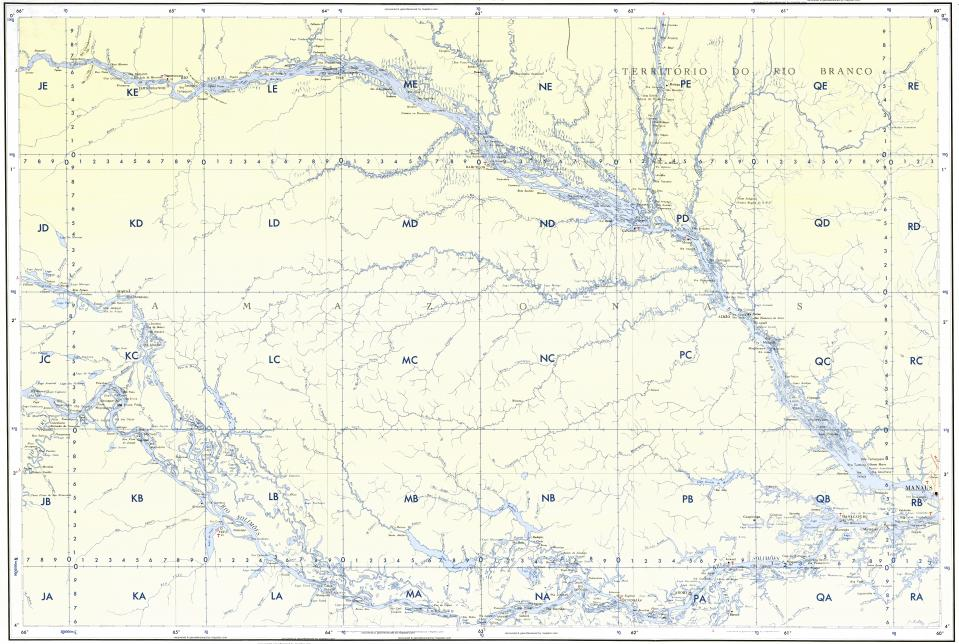 Download topographic map in area of Manaus Sao Francisco De Assis