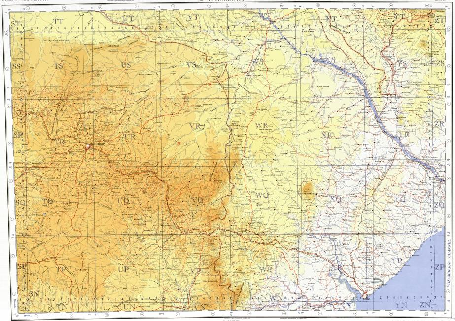 Topographic Map Zimbabwe.Download Topographic Map In Area Of Harare Beira Alfandega