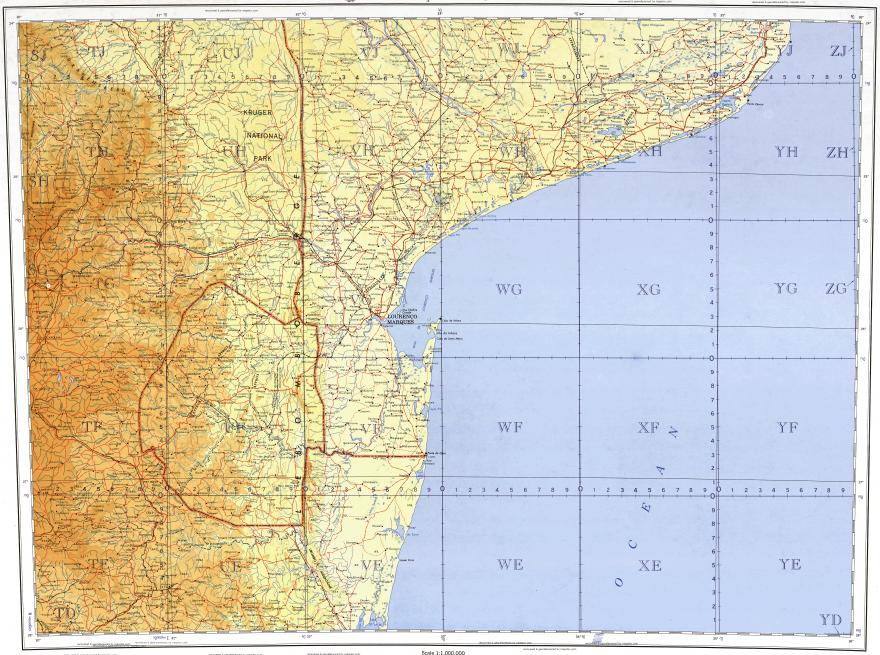 Download topographic map in area of Maputo Xai Xai Mbabane