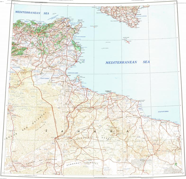 Download Topographic Map In Area Of Tunis Tripoli Annaba - Tunisia cities small scale map
