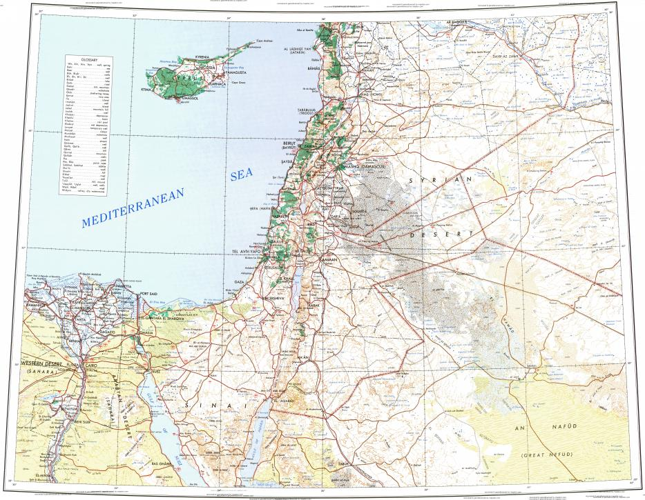 Download Topographic Map In Area Of Cairo Damascus Beirut - Jordan map download
