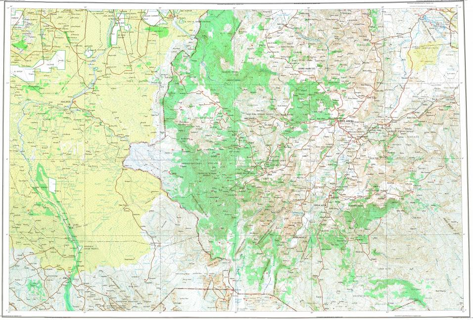 Download topographic map in area of Addis Ababa Bata Yubdo