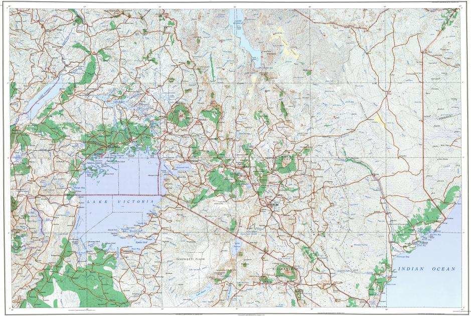 Download topographic map in area of Nairobi Kampala Kigali