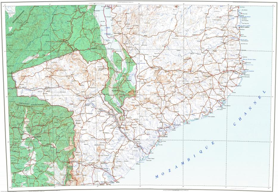 Download topographic map in area of Harare Lilongwe Blantyre