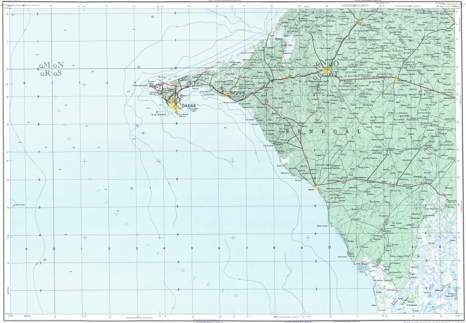 Download topographic map in area of Dakar, Thies, Mbour - mapstor.com