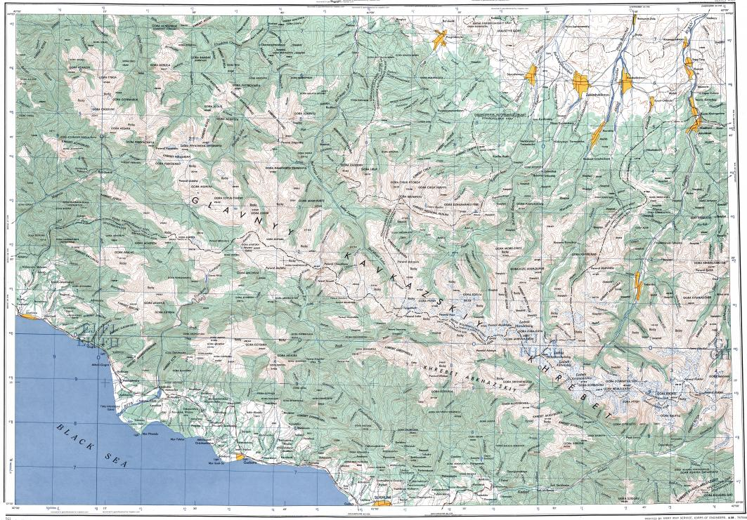Download topographic map in area of Sukhumi Gagra Gornyatskiy